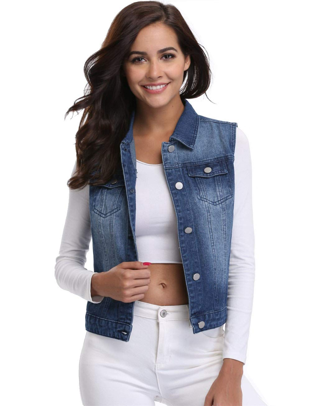 MISS MOLY Jean Vest for Women Button Down Sleeveless Denim Jackets with Pockets