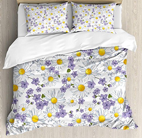(Floral 4 Piece Bedding Set King Size, Blossoming Chamomile Wild Flower Summer Background Spring Natural Pattern, Duvet Cover Set Quilt Bedspread for Childrens/Kids/Teens/Adults, White Yellow Purple)