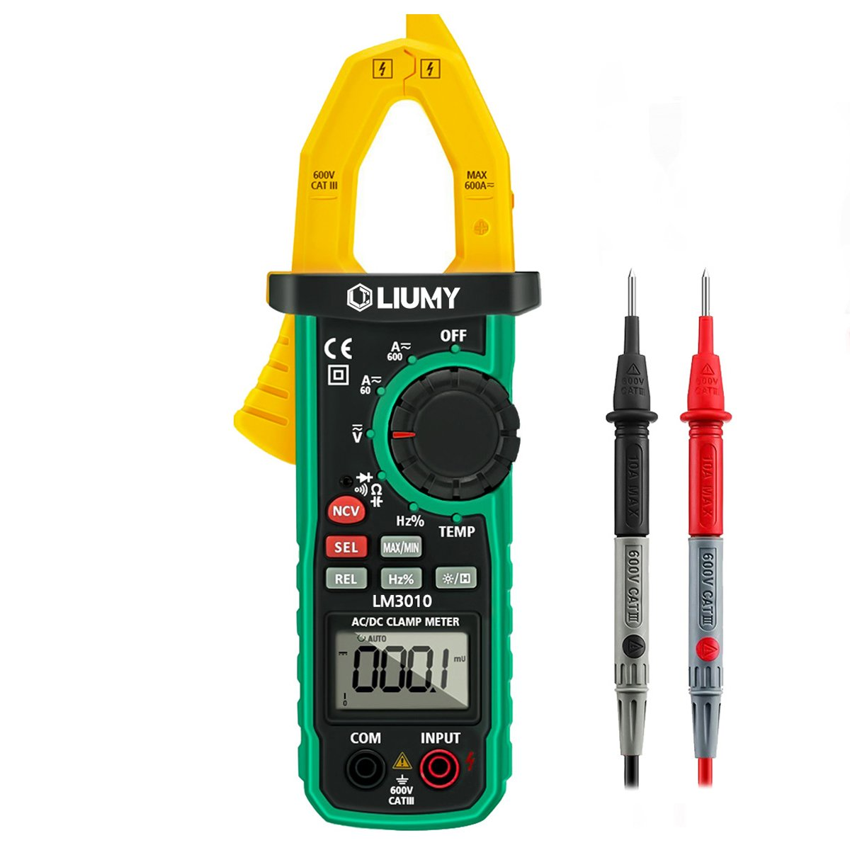 Digital Clamp Meter, LIUMY Auto-Ranging AC/DC Clamp Multimeter with Analog Function, NCV, Work Light/ Memory peak, Non- contact Voltages/ Frequency/ Resistance/ Capacitance/ Connections/ Diodes
