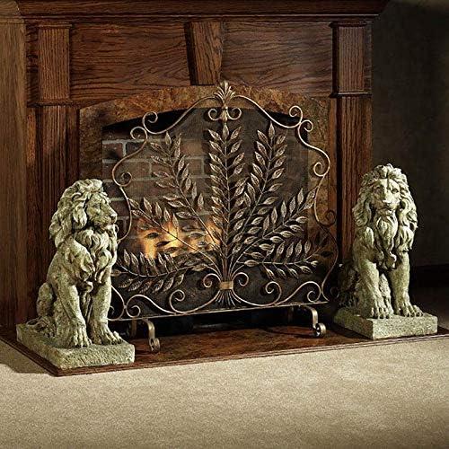ホームのための単一のパネル黒鉄の暖炉スクリーン、火災スパークガード門、装飾スクロールアクセント - 90X105cm