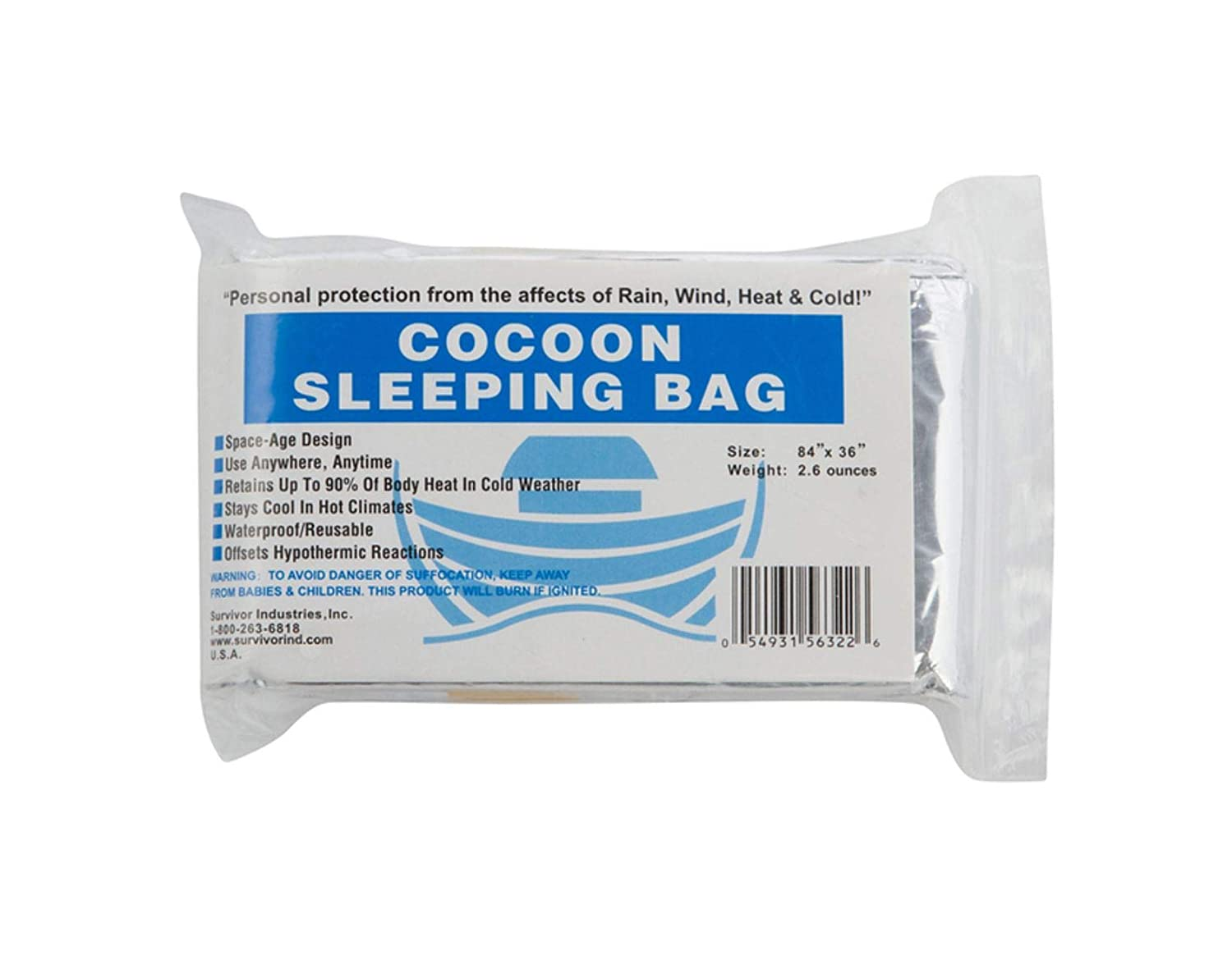 The Cocoon Sleeping Bag for Outdoors Marathons or First Aid Survival Hiking Survivor Industries