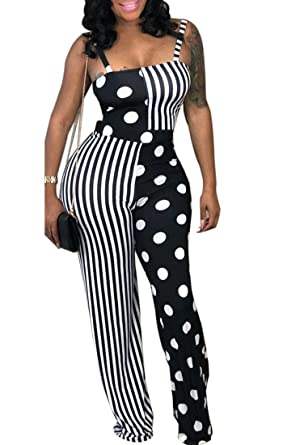 f99d9af15f90 GLUDEAR Women s Striped Polka Dot Color Block Sleeveless Wide Leg Jumpsuit  Romper