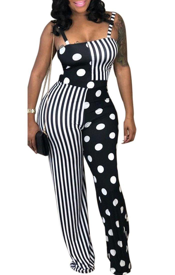 286910dfd2 GLUDEAR Women s Striped Polka Dot Color Block Sleeveless Wide Leg ...
