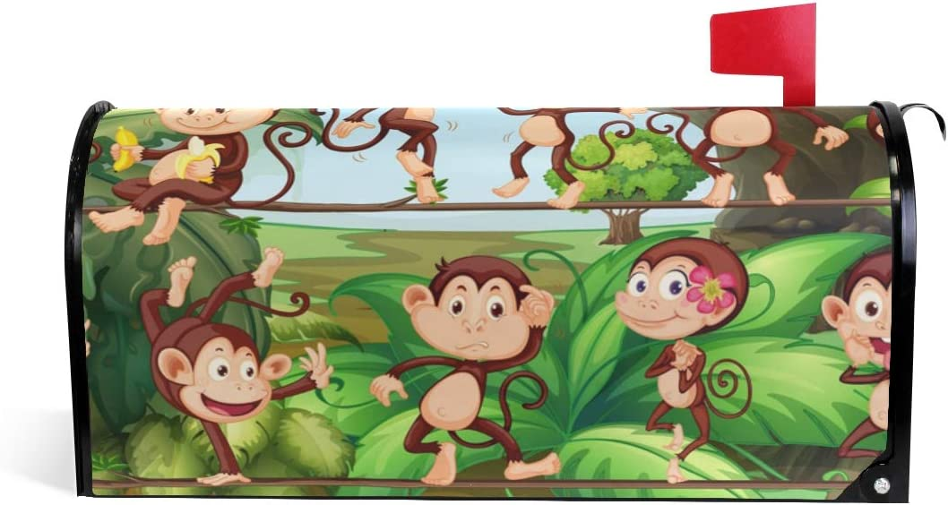 Auskid Cartoon Monkey Mailbox Covers Magnetic Letter Post Box Cover Garden Home Decor Standard Size 20.7 x 18 Inch