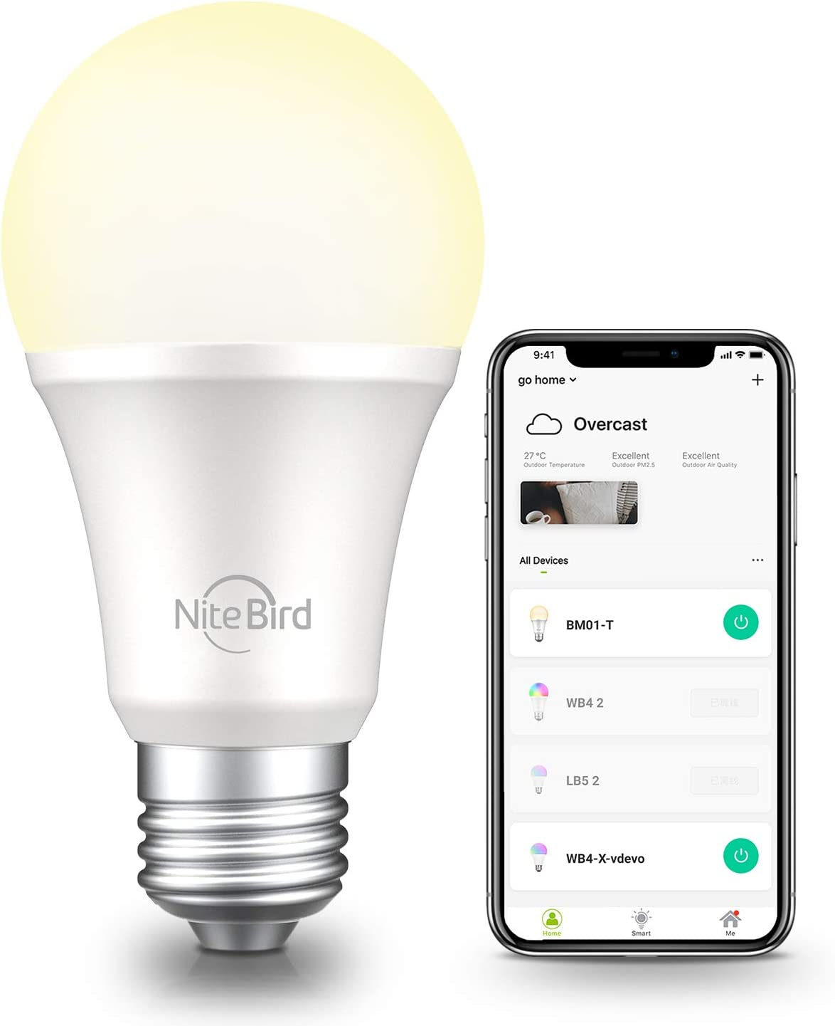 Smart Light Bulb Compatible with Alexa Google Home Siri,No Hub Required, NiteBird WiFi Dimmable 800 Lumen Warm White A19 E26 2700K LED Lights Bulbs, 8W (75W Equivalent), 1 Pack