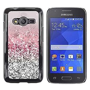 rígido protector delgado Shell Prima Delgada Casa Carcasa Funda Case Bandera Cover Armor para Samsung Galaxy Ace 4 G313 SM-G313F -Glitter Silver Pink Shiny Snow Sparkly Diamond-