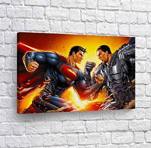 - Buy4Wall General Zod vs Superman Wall Art CANVAS PRINT Fighting Old School Comics Super Hero Home Decor Decoration Stretched and Ready to Hang -%100 Hanmade in the USA - 24x36