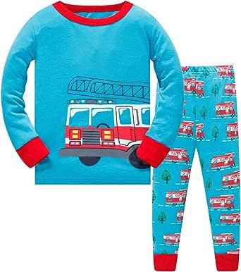 HIKIDS Pijama Niño Invierno-Pijama para Niños-Pijamas de Astronauta Cohete Planeta Excavador Tractor Coche Camión para Niños-Manga Larga Niño Ropa de algodón Traje Dos Piezas 3 4 5 6 7 8 Años