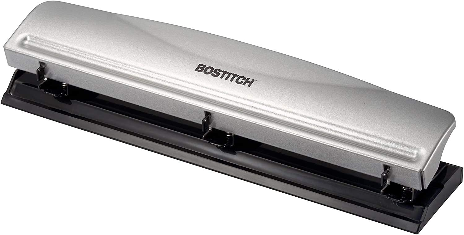 Bostitch Office HP12 3 Hole Punch, 12 Sheet Capacity, Metal,Silver. 1-Pack
