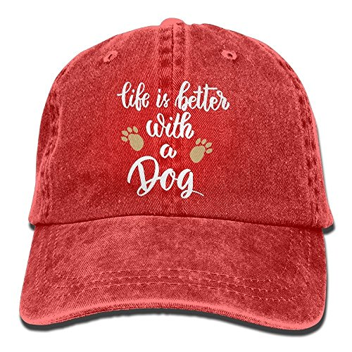 FUNINDIY Life is Better with A Dog Vintage Jeans Baseball Cap for Men and Women