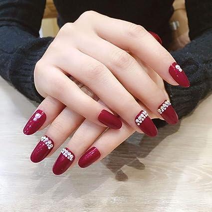 Jovono 24 uñas postizas de color rojo de cabeza redonda, doble ...