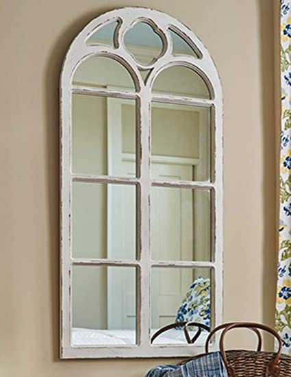 8c2ac74578494 Amazon.com  Shabby Chic Distressed White Wood Window Mirror with Arched  Top