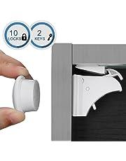 Linkax Bloqueo de Seguridad para Bebés Cierres de seguridad Para Niños Cerraduras Magnéticos de Seguridad para armarios Cajones y Puertas(10 cerraduras + 2 llaves)