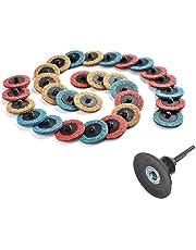 "Rotary Tool lijado pulido superficie de rollo de mezcla Roloc acondicionado discos (10piezas Fine/10pcs Medium/10pcs gruesa) + 1pcs 2""(50mm) Disco Pad soporte con 1/4"" (6,35mm) vástago"