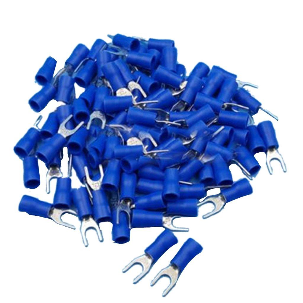 100x Aislado Terminales de Los Cables de Crimpado de Conectores Eléctricos Tenedor de Pala Azul Generic