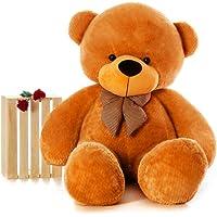 Webby 3 Feet Huggable Teddy Bear with Neck Bow (Brown)