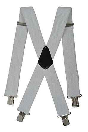 Bretelles XXL entièrement réglable Extra Fort avec 4 Clips, Tissu épais -  5cm. Blanc 5aeb1f860579