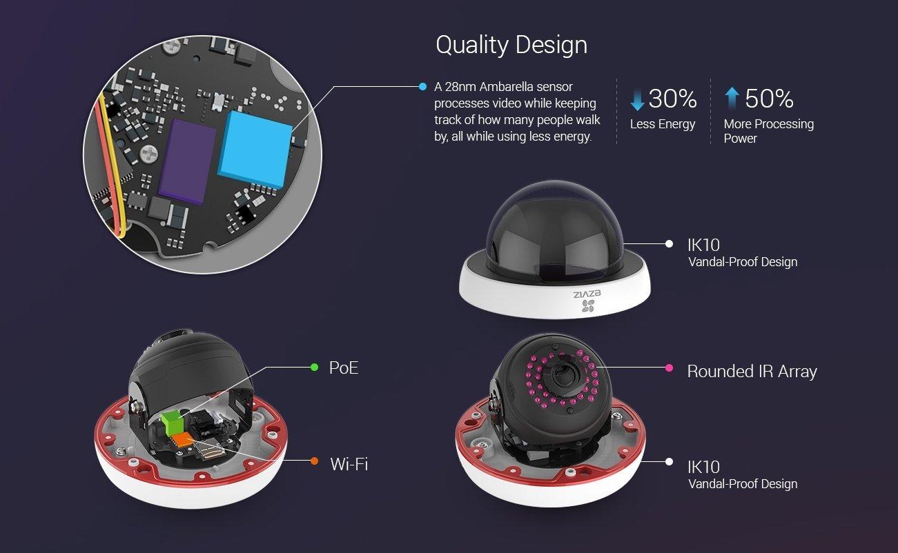 EZVIZ Husky Dome HD 1080p Outdoor Wi-Fi Video Security Camera, 16GB MicroSD, Works with Alexa by EZVIZ (Image #6)