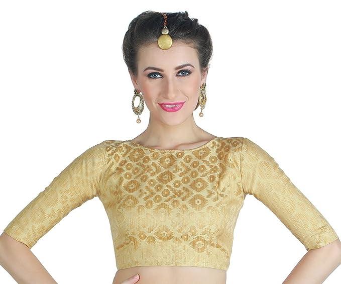 e63f39a35f4a25 Studio Shringaar Women's Golden Brocade Saree Blouse.: Amazon.in ...