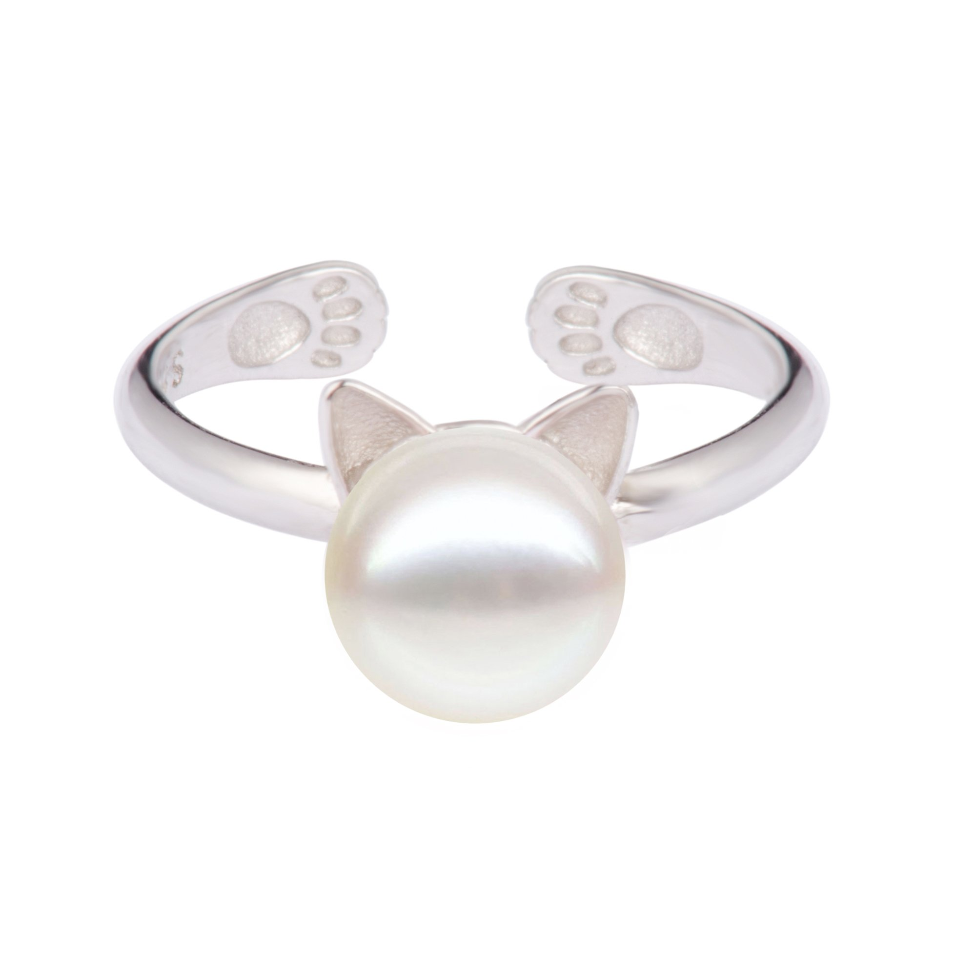 S.Leaf Cat Pearl Ring Sterling Silver by S.Leaf