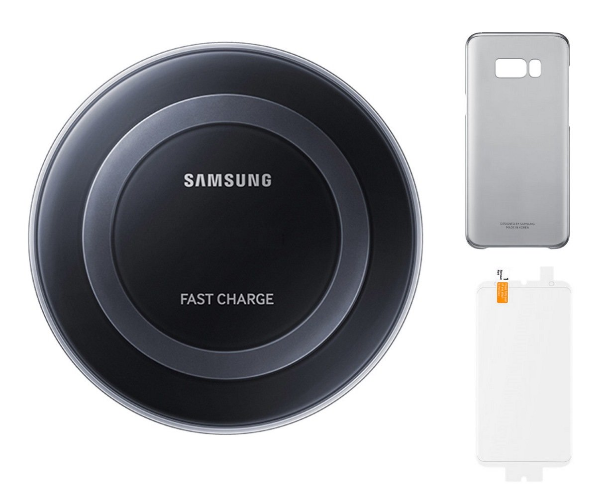 Samsung Galaxy S8+ Essential Kit - Samsung Qi Certified Fast Charger Wireless Pad with Clear Orchid Grey Cover Case and Scratch Proof Screen Protector - Retail Packaging