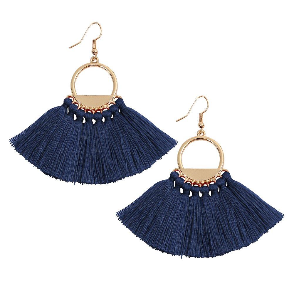 Fan Long Tassels Circle Element Blue Bohemian Earrings Jewelry Hook Dangle Earrings