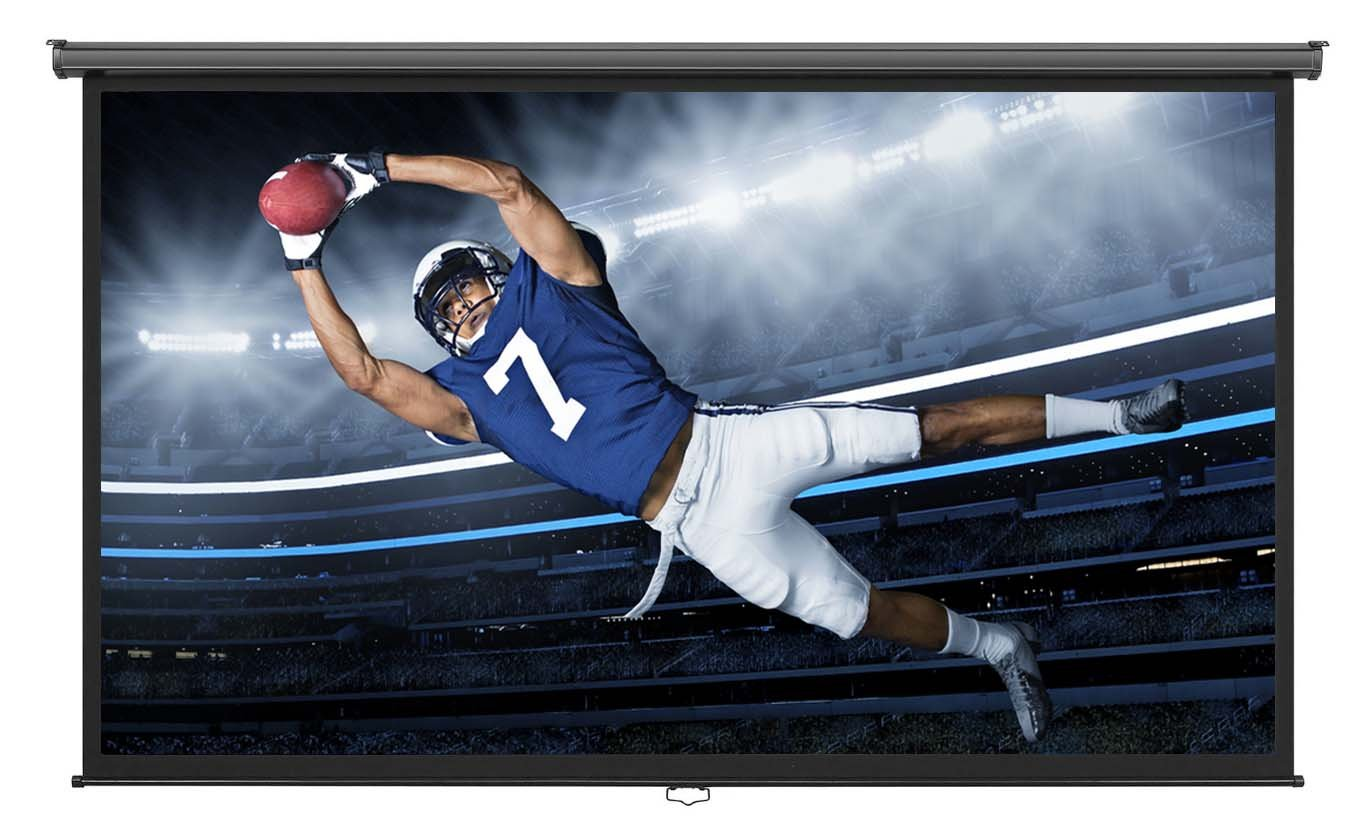 VonHaus 100 Inch Projector Screen - Manual Pull Down - 100'' Widescreen Indoor Home Theater/Cinema Platform - 16:9 Aspect Ratio Projection Screen - Suitable For HDTV/Sport / Movie/Gaming