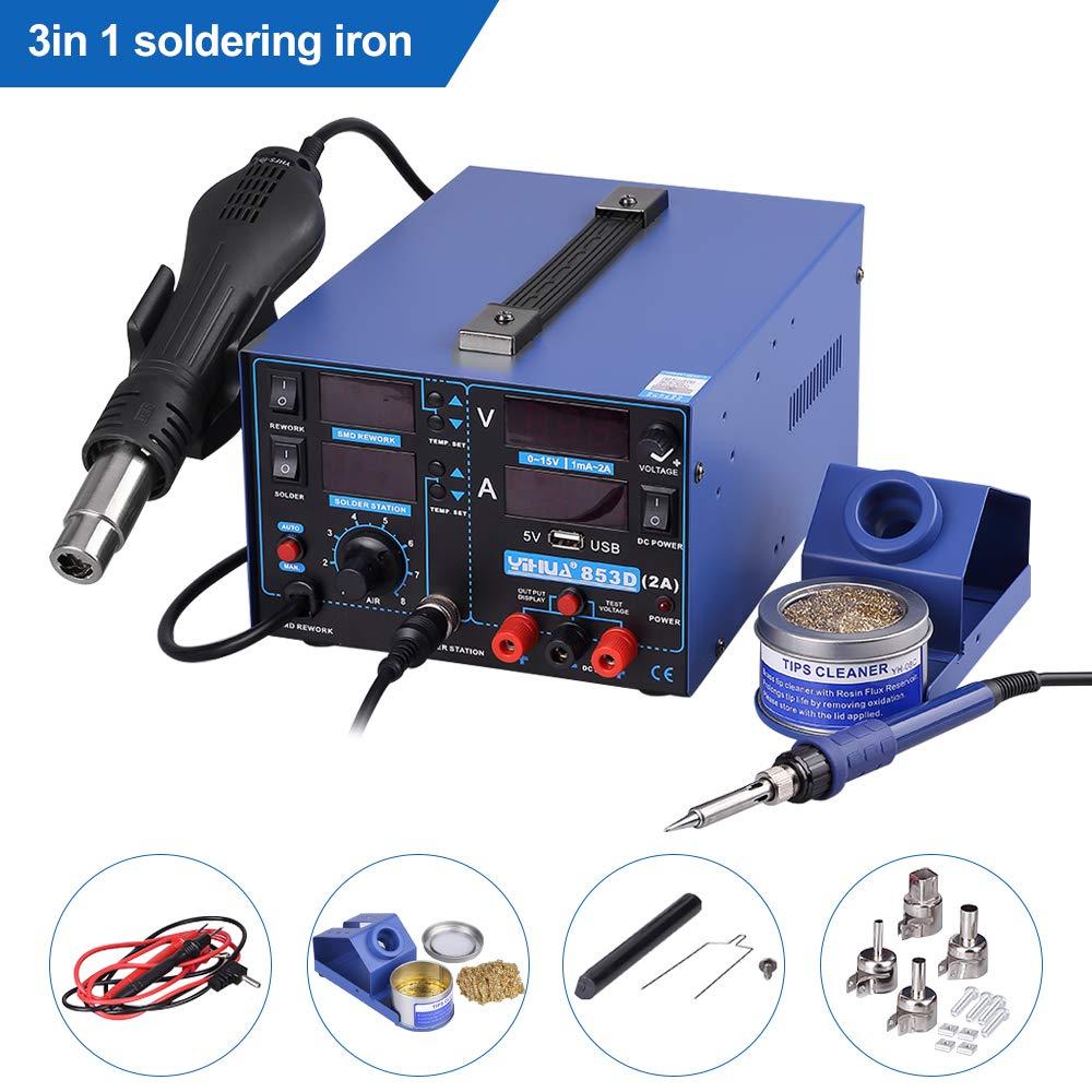 Estacion de soldadura digital 3 en 1 SMD Kit del Soldador Eléctrico con pistola de aire