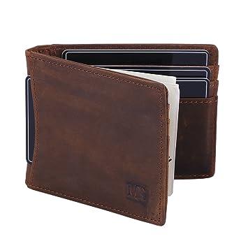 Win&Income Geldbörse mit Geldklammer für Herren, Echt Leder Geldbeutel mit  RFID Schutz, Brieftasche mit