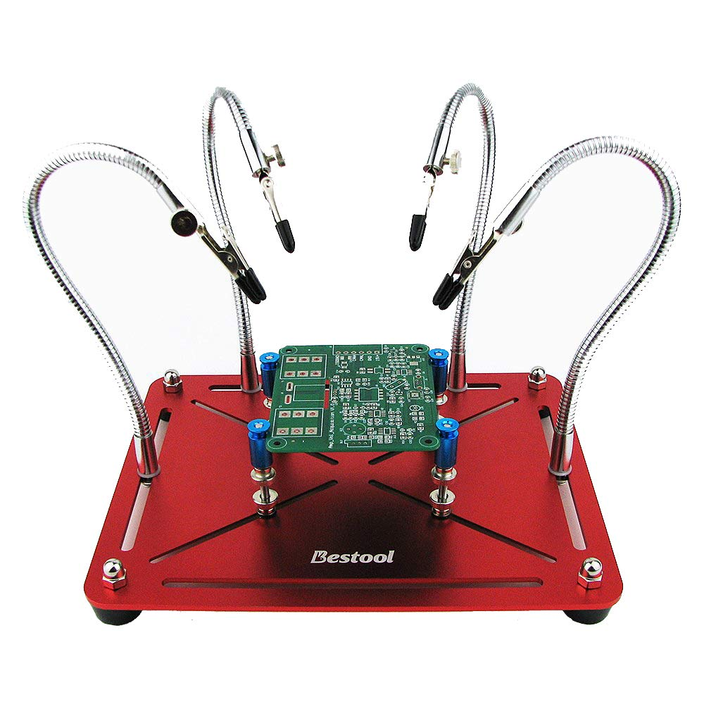Slidable Helping Hands Soldering, Third Hand, Soldering Station Tool (Flexible Universal Arms 4 Arms, 4 Pillars, Built in Movable Tray, Heat Resistant Covers, 360 Degree Swiveling Clips) PinBoTronix