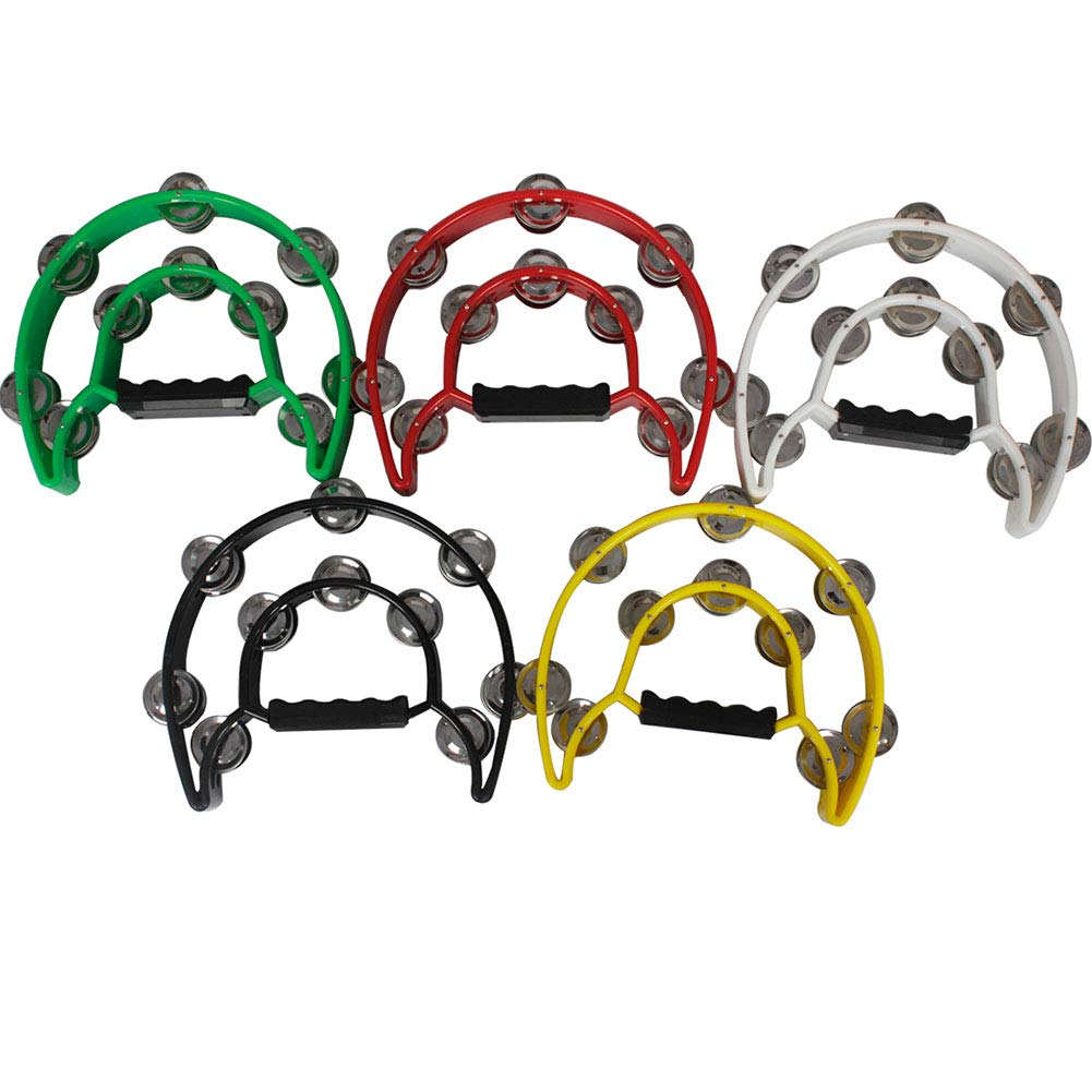 KLJKUJ Musical Tambourine Handbell with Double Row Metal Jingles Percussion Drum Party Gift Percussion Instruments Yellow
