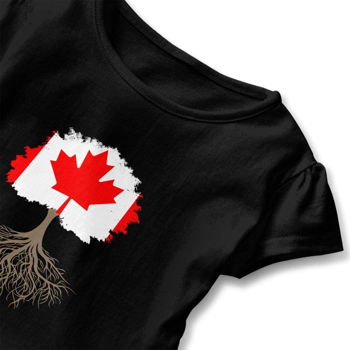 Tree of Life with Canadian Flag Toddler Girls T Shirt Kids Cotton Short Sleeve Ruffle Tee