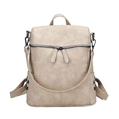 Amazon.com  Retro Backpack Casual PU Leather Rucksack Backpacks Purse Teen  Girls Medium Size Travel Bags For Women(Beige)  Shoes 6b6ab25792070