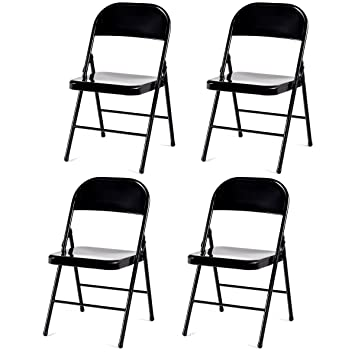 4 Pack Folding Chairs.Giantex 4 Pack Folding Chairs Steel Frame Heavy Duty Armless Home Office Party Furniture Use Black