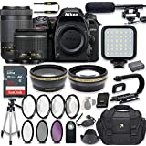 Nikon D7500 20.9 MP DSLR Camera Video Kit with AF-P 18-55mm VR Lens & AF-P 70-300mm ED VR Lens + LED Light + 32GB Memory + Filters + Macros + Deluxe Bag + Professional Accessories