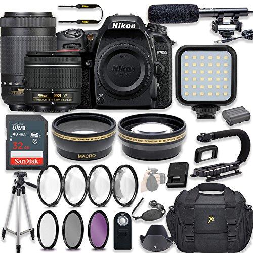 Nikon D7500 20.9 MP DSLR Camera Video Kit with AF-P 18-55mm VR Lens & AF-P 70-300mm ED VR Lens + LED Light + 32GB Memory + Filters + Macros + Deluxe Bag + Professional Accessories (Nikon Led)