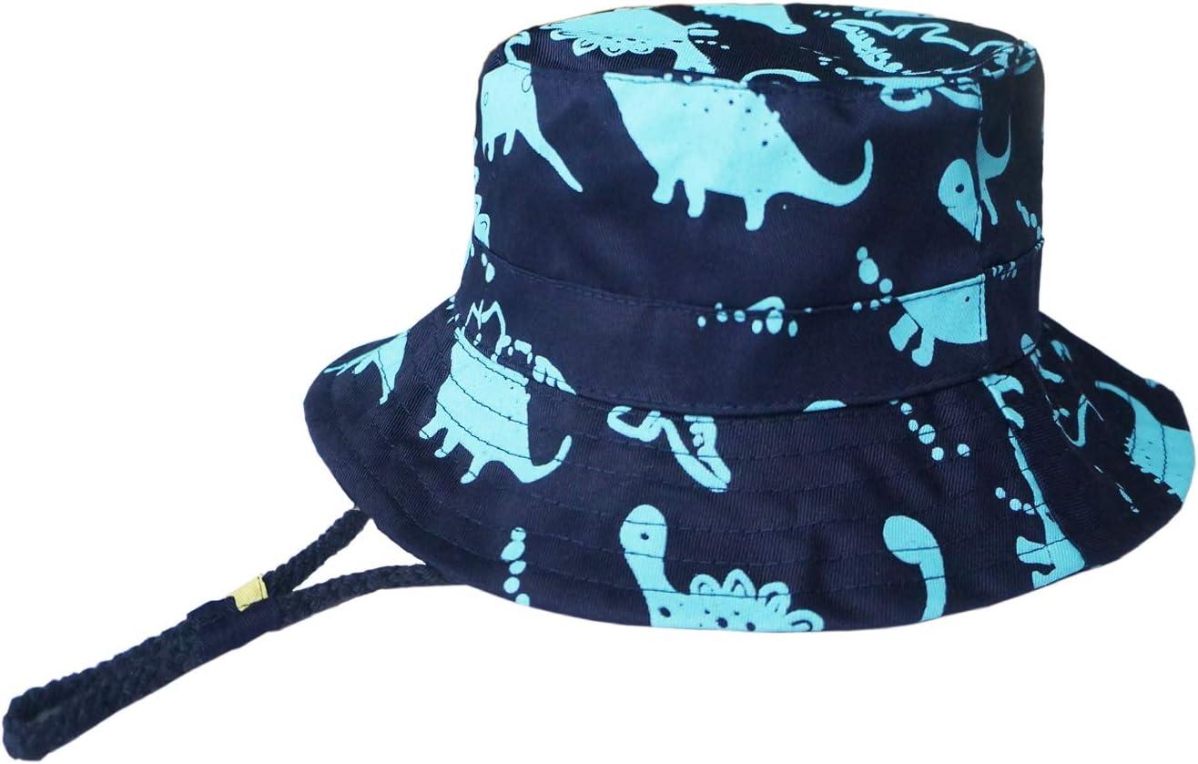FtingSun Baby Boys Cotton Dinosaur Bucket Hat Summer Outdoor Sunhat 50+UPF With Adjustable Chin Strap Aged 6M-5Y