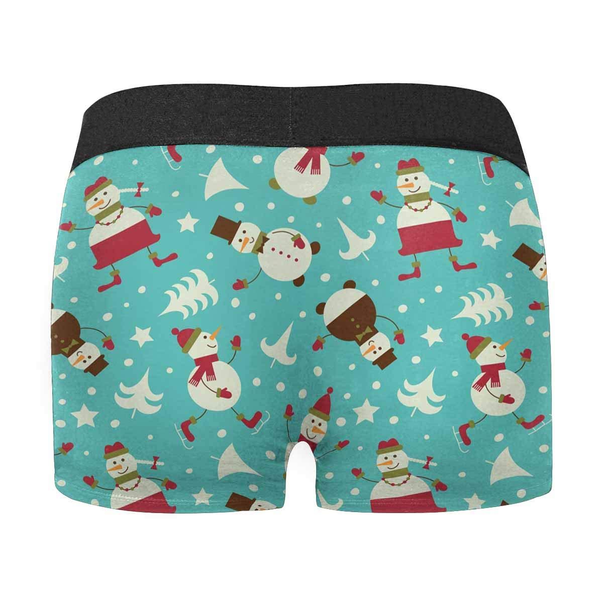 INTERESTPRINT Mens Boxer Briefs Underwear Cute Christmas Snowman XS-3XL