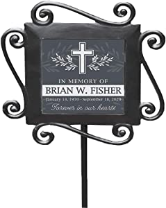 GiftsForYouNow Personalized Cross with Leaves Memorial Garden Stake