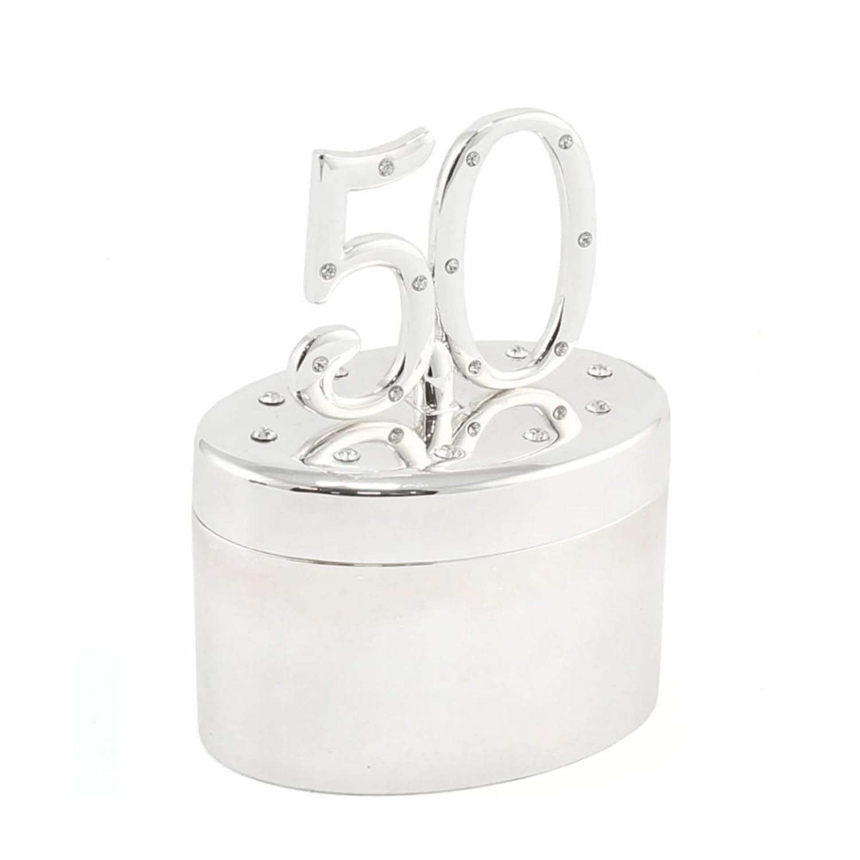 """50"" Fiftieth Birthday Silverplated Diamante Decorative Keepsake Trinket Box / Pot Lesser Pavey"