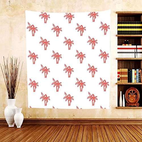 Gzhihine Custom tapestry Coral Decor Tapestry Tropical Colored Coconut Palm Trees Silhouettes Hawaiian Jungle Plants Artwork for Bedroom Living Room Dorm 60WX40L Red White