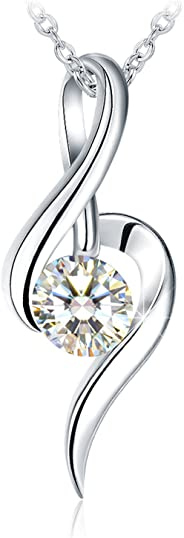 """Silver Necklace, Gifts for Women 925 Sterling Silver 3A Cubic Zirconia Necklace J.Rosée Fine Jewelry """"Good Time"""",18"""