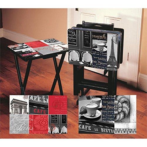 Cape Craftsmen Paris Café TV Trays with Stand, Set of 4
