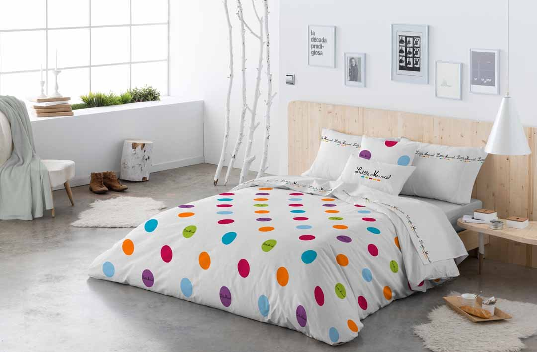 HOUSSE DE COUETTE 140x220 RAINBOW DOTS MULTI LITTLE MARCEL
