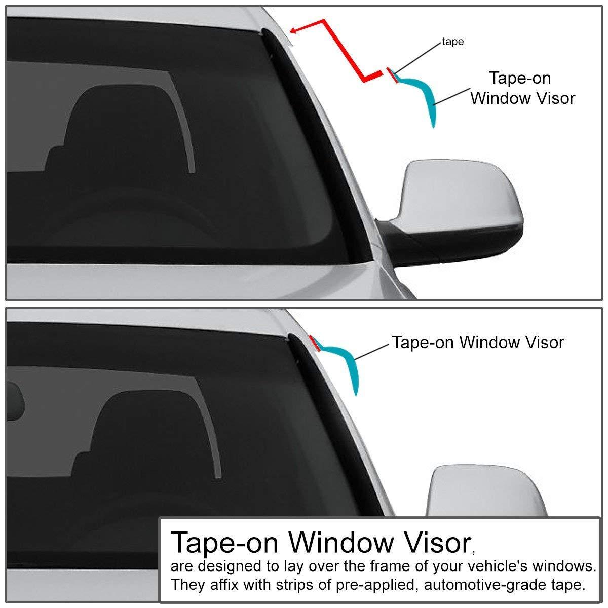 DNA Motoring WVS-119 4pcs Dark Smoke Vent Window Visor Deflector Rain//Sun Guard