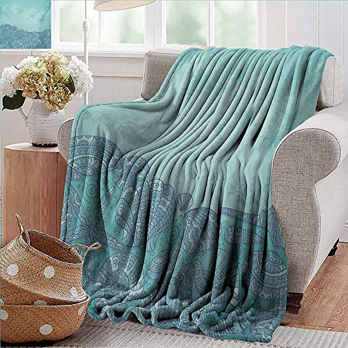 PearlRolan Blankets Fleece Blanket Throw,Nautical,Marine Beauty Shell with Seahorse Starfish Oysters Ocean Sea Tropical Image,Turquoise Teal,300GSM,Super Soft and Warm,Durable Throw Blanket 60