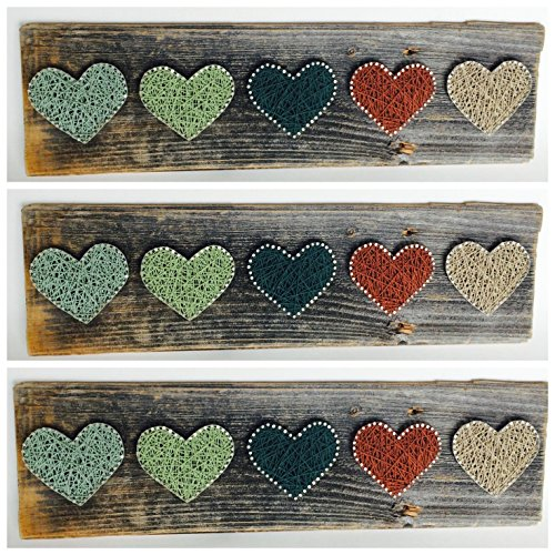Reclaimed wood string art Thistle Hearts - A unique gift for baby boys, Weddings, Anniversaries, Birthdays, Valentine's Day, Christmas, House Warming, nursery decor and just because.