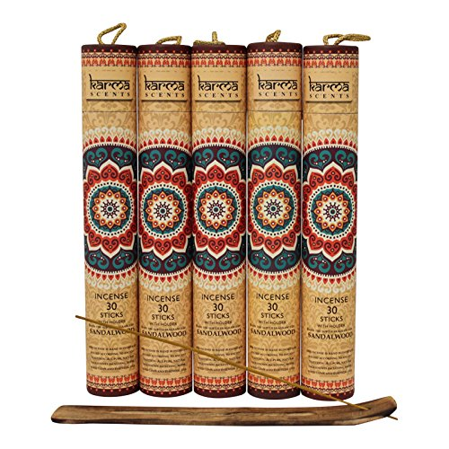 Premium Sandalwood Incense Sticks 5 Set Gift Pack with a Holder In Each Box, Includes 150 Sticks and Five Incense Burners by Karma Scents (Image #3)