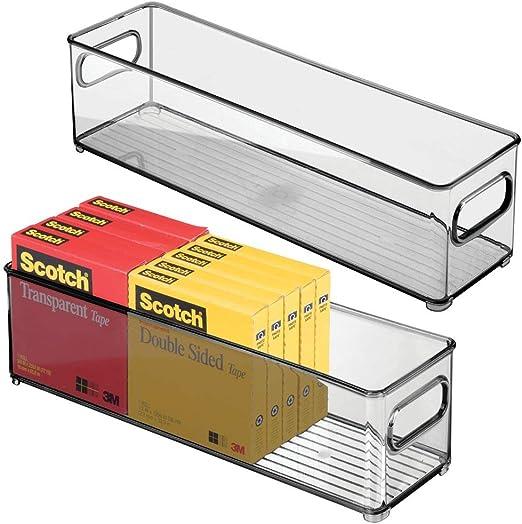 mDesign Juego de 2 cajas organizadoras con asas integradas – Caja ...
