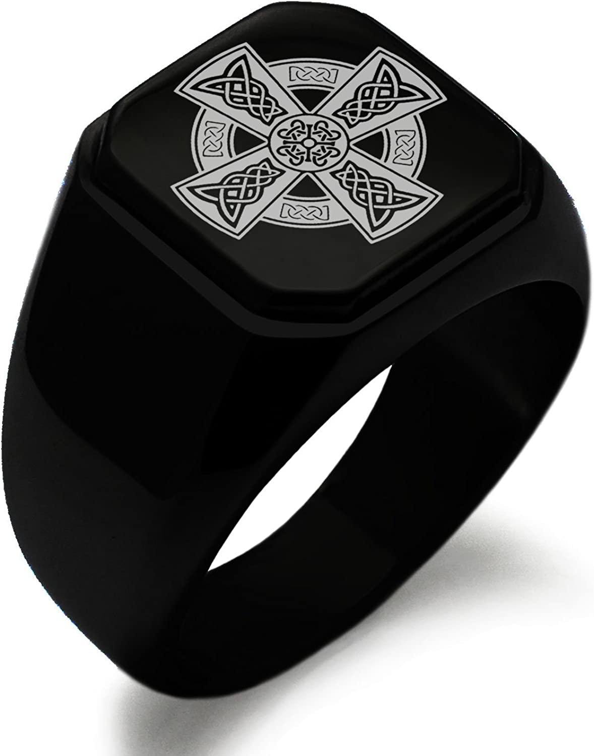 Tioneer Stainless Steel Signet Biker Rings for Men, Nordic Viking Symbol Square Flat Top (Black, Gold, Silver), Size 7-16
